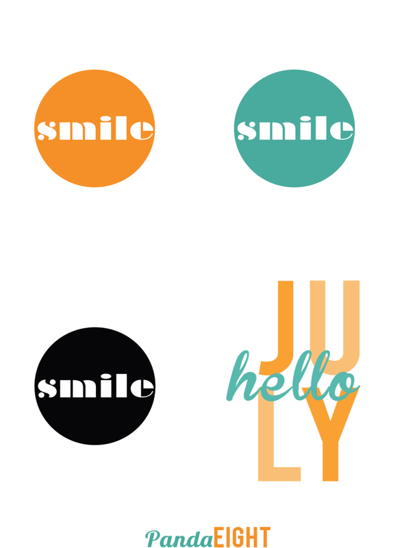 Panda Eight Hello July & Smile Printable